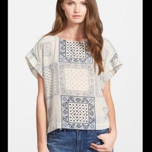 MADEWELL Boxy Fit Silk Patchwork Blouse